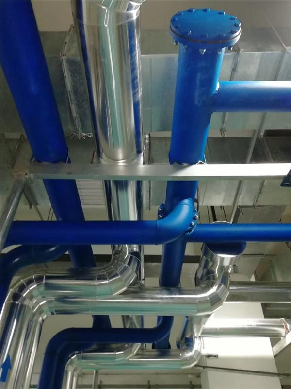 空调水管管道保温施工现场,涛翔天管道保温施工队